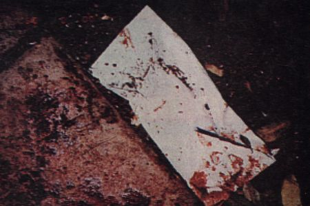 A bloody envelope found at the crime scene used as evidence in the OJ Simpson 1995 murder trial.