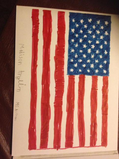 drawing of American flag