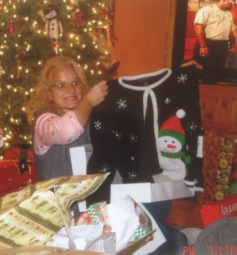 My mom with one of the last Christmas sweaters dad purchased for her. Sadly, the dancing snowmen were not captured on film.